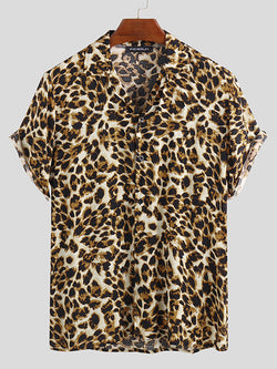 Mens Loose Handsome Leopard Printing Shirts