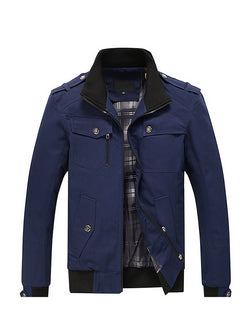 Men Colorblock Casual Stand Collar Jacket