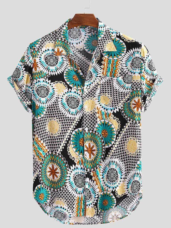 Men Short Sleeves Lapel Ethinic Printed Shirt