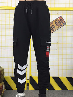 Men Solid Letter Printed Sports Pant