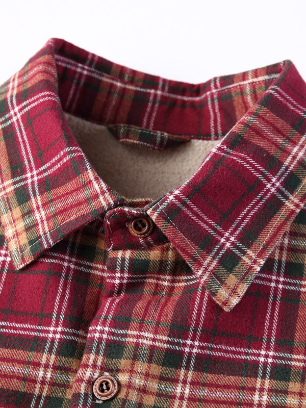 Casual Plaid Lapel Long Sleeves Lamb Cashmere Lined Winter Retro Shirt