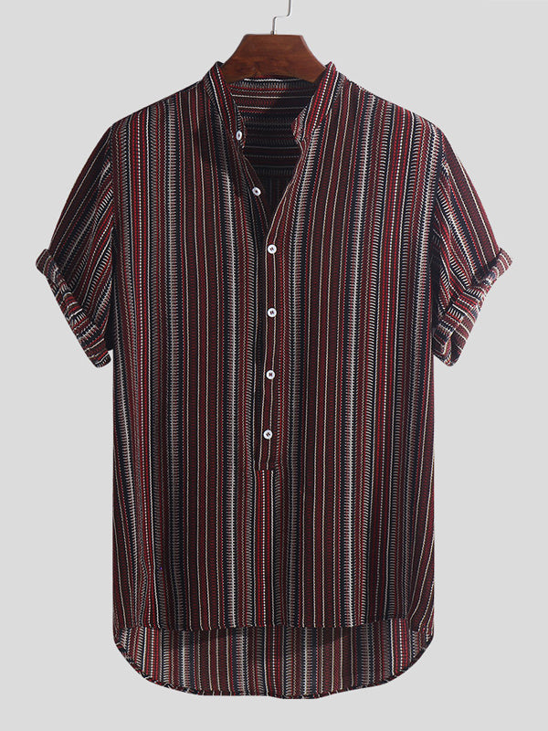 Men Short Sleeves Striped Stand Collar Shirt