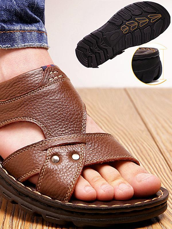 Summer Casual Solid Leather Sandals