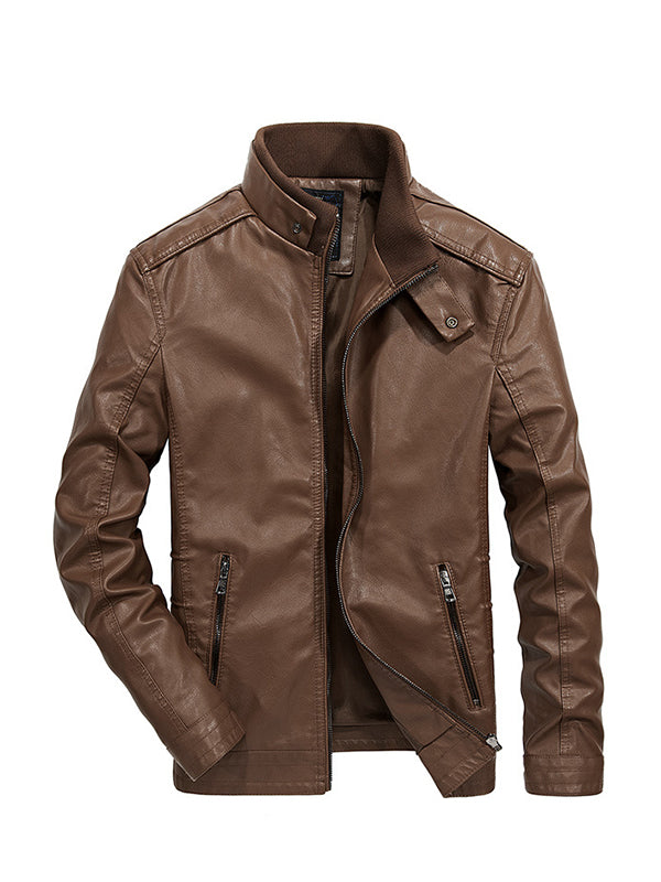 Men Stand Collar Solid Color Casual Leather Jacket