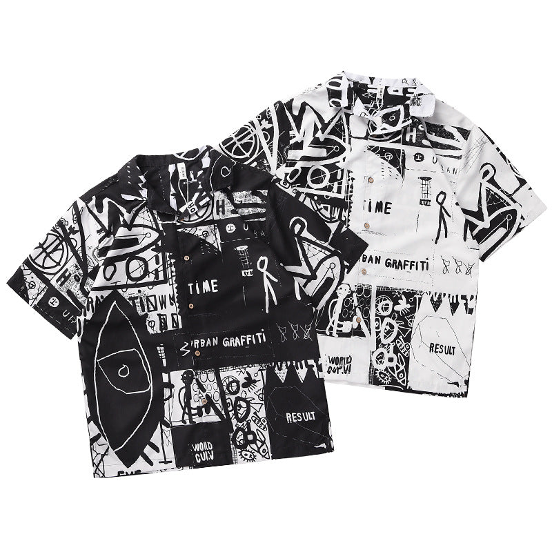 Men Fashion Brand Digital Printed Short Sleeved Shirt