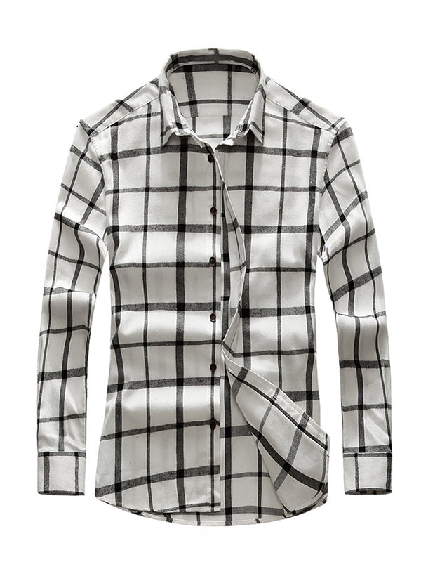 Men's Casual Plaid Long Sleeve Shirt