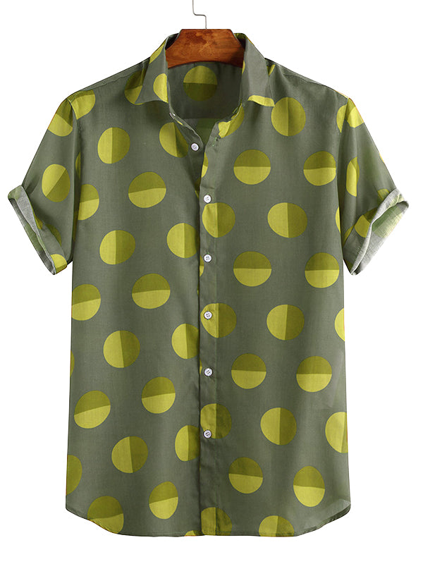 Men Polka-Dot Short Sleeves Lapel Shirt