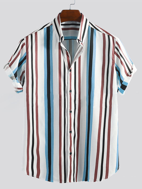 Men Blue Striped Printed Lapel Blouse&Shirt