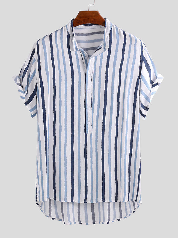 Men Short Sleeves Striped Lapel Shirt