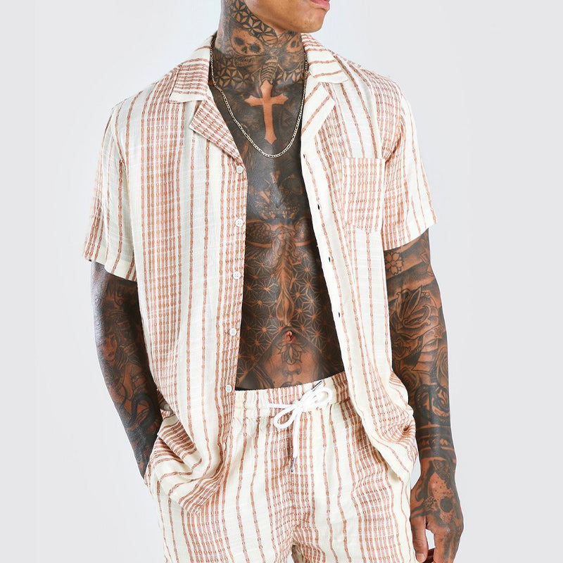 Men Loose Striped Short Sleeve Shorts Two-Piece Suit