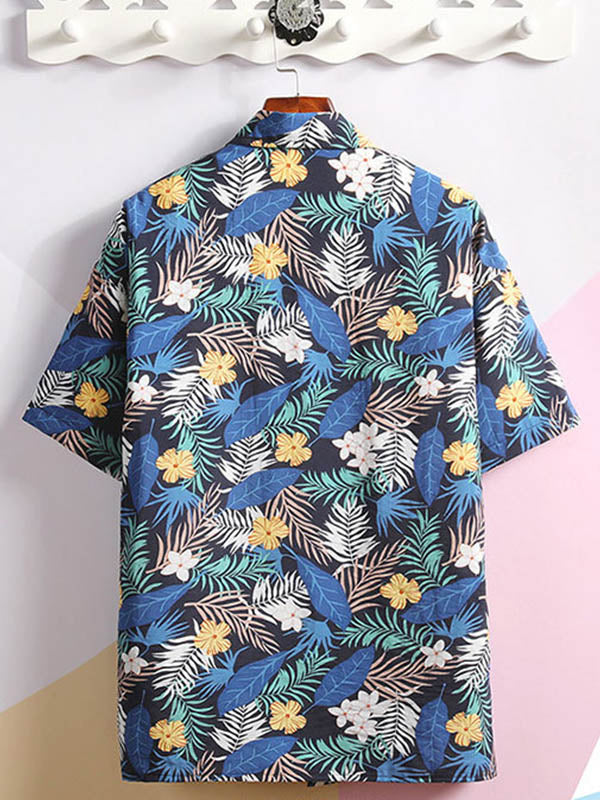 Men Beach Printed Casual Couple Flower Shirt