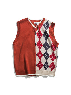Men Split-Joint Plaid Loose Pullover Vest