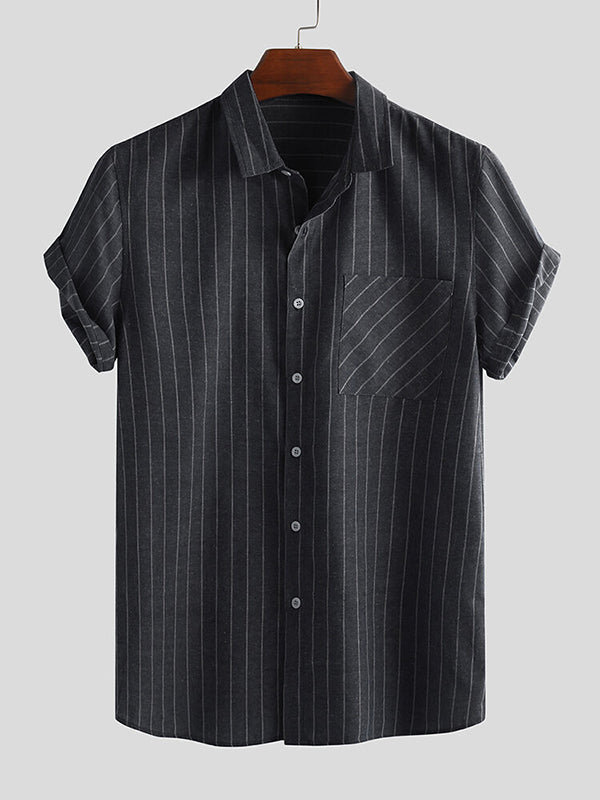 Men Retro Striped Single-Breasted Casual Shirt Short Sleeve