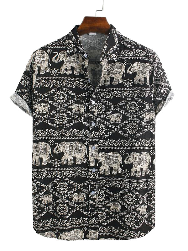 Mens Summer Elephant Printed Shirt