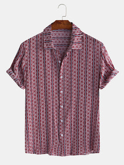 Men Ethnic Pattern Printed Striped Short Sleeve