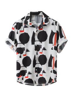 Men Printed Holiday Style Loose Short Sleeve Shirt