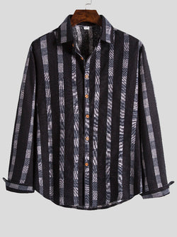 Men Striped Printed Long Sleeve Shirt