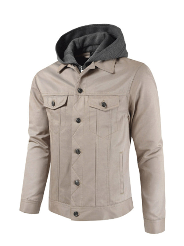 Men Single Breasted Casual Hooded Jacket