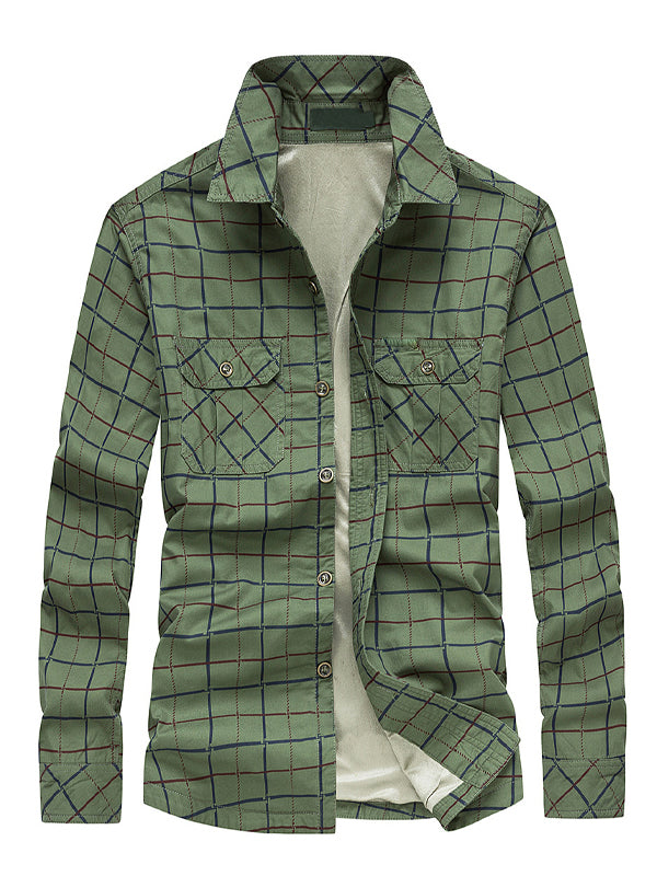 Men's Loose Plaid Pile Long-Sleeved Shirt