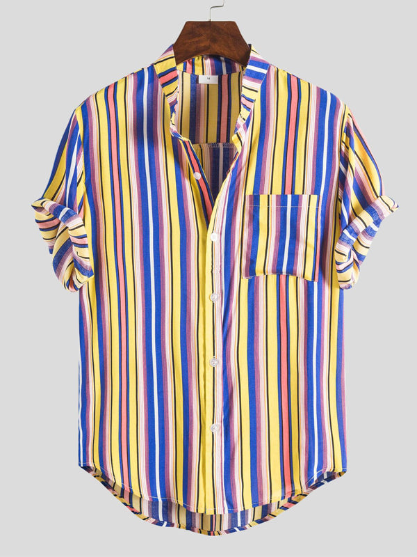 Men Lapel Printed Striped Short Sleeve Shirt