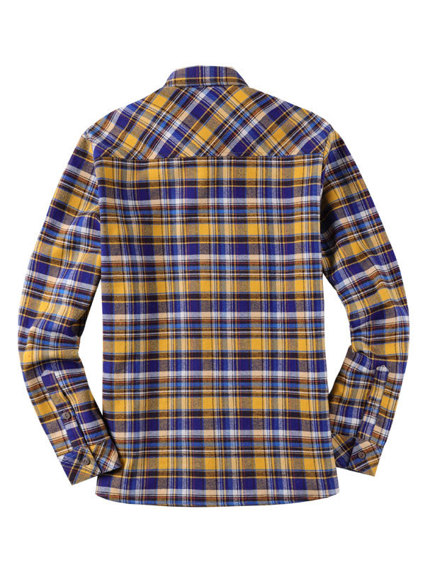 Men Lapel Long Sleeves Lamb Cashmere Lined Retro Shirt