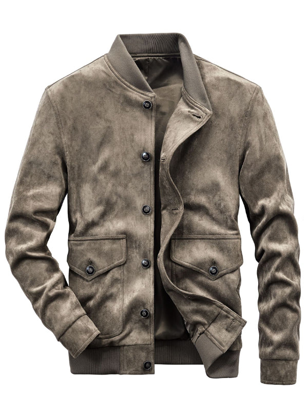 Men Lapel Color Block Loose Casual Coat