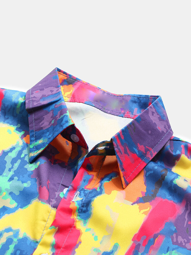 Men Color Block Printing Breathable Sleeve Casual Shirts