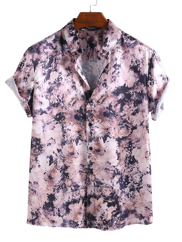 Men Floral Printed Short Sleeves Lapel Shirt