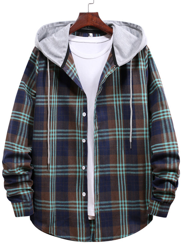 Men's Simple Loose Plaid Long Sleeve Shirt