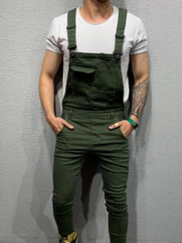 Men Slim-Fit Denim Overalls