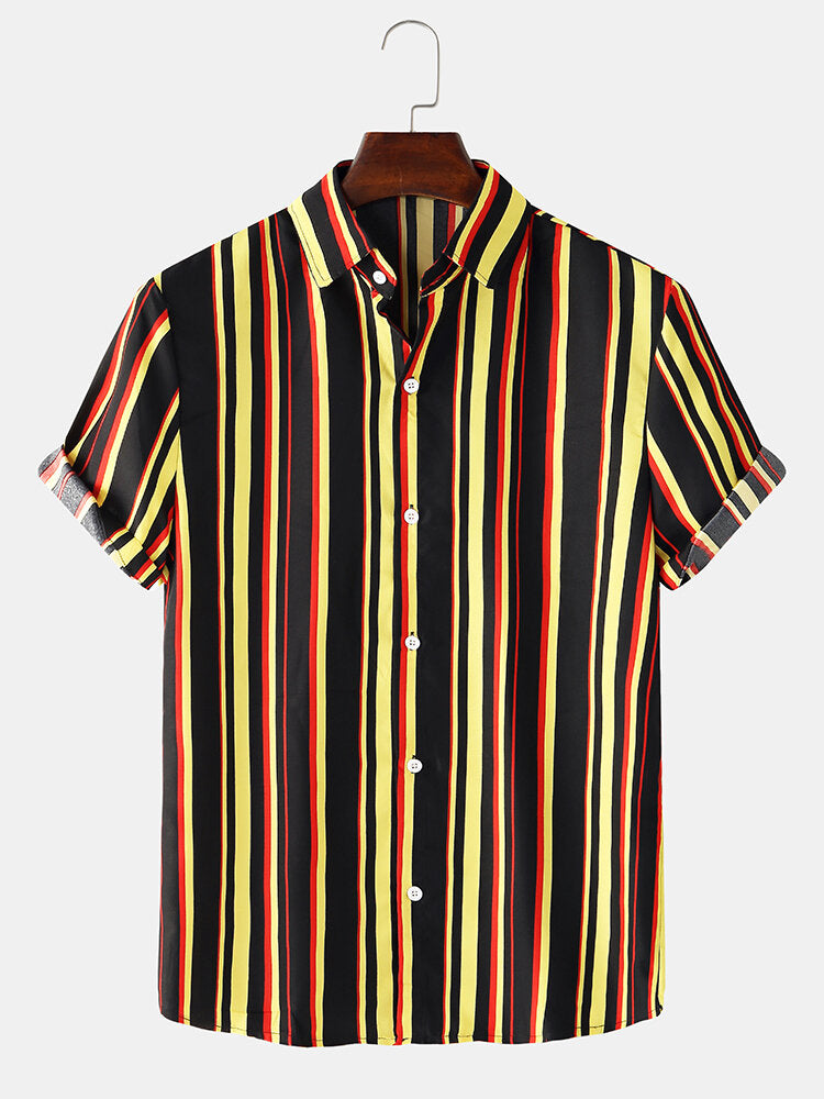 Men Colorful Stripes Casual Loose Short Sleeve Shirts