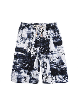 Men Casual Ink Printed Retro Style Beach Swim Trunks