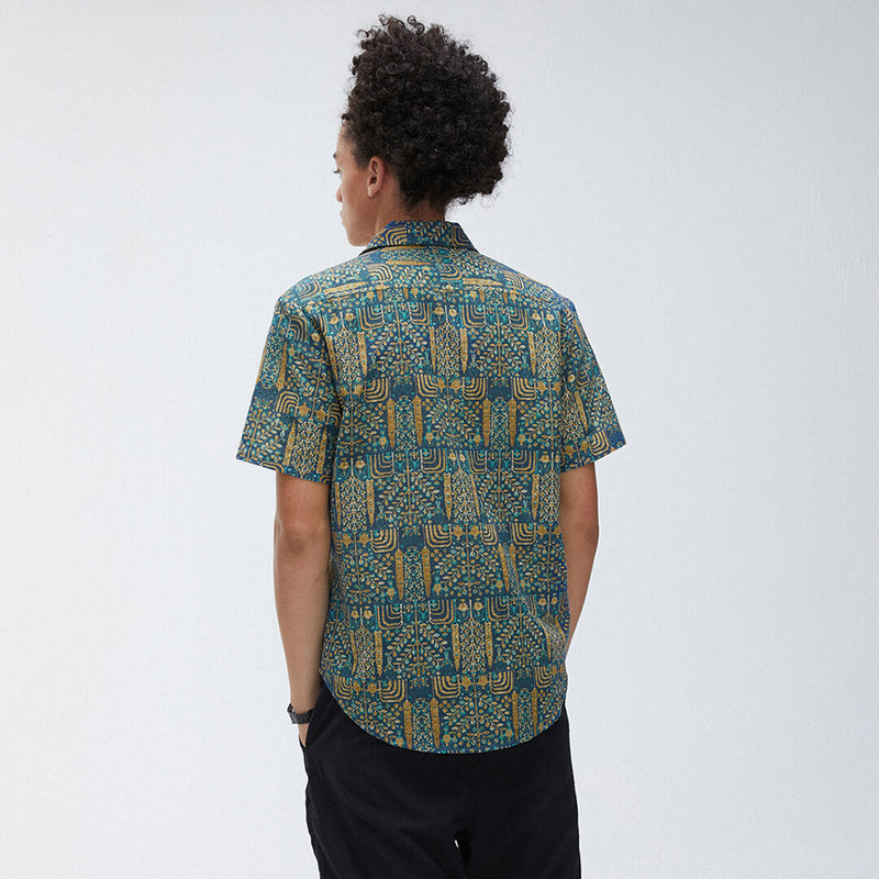 Men Short Sleeves Lapel Abstract Printed Shirt