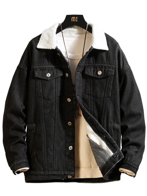 Men Solid Color Lapel Denim Jacket