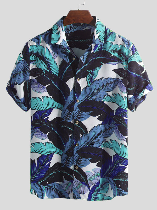 Men Short Sleeves Lapel Summer Holiday Shirt