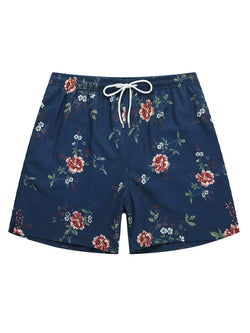 Men Floral Printed Hawaii Style Summmer Beach Swimming Trunks