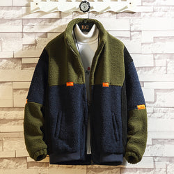 Men Stand Up Collar Stitching Contrast Casual Coat
