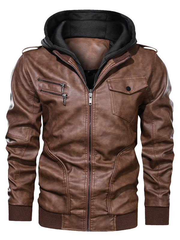 Men Solid Color Casual Leather Jacket