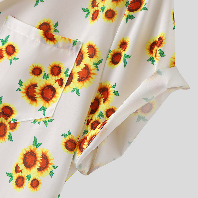 Men Small Chrysanthemum Printed Short-Sleeved Shirt