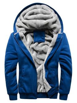 Men Solid Hooded Zipper Casual Coat