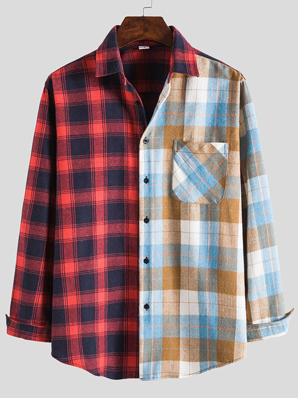 Men Checkered Lapel Casual Long Sleeve Shirt