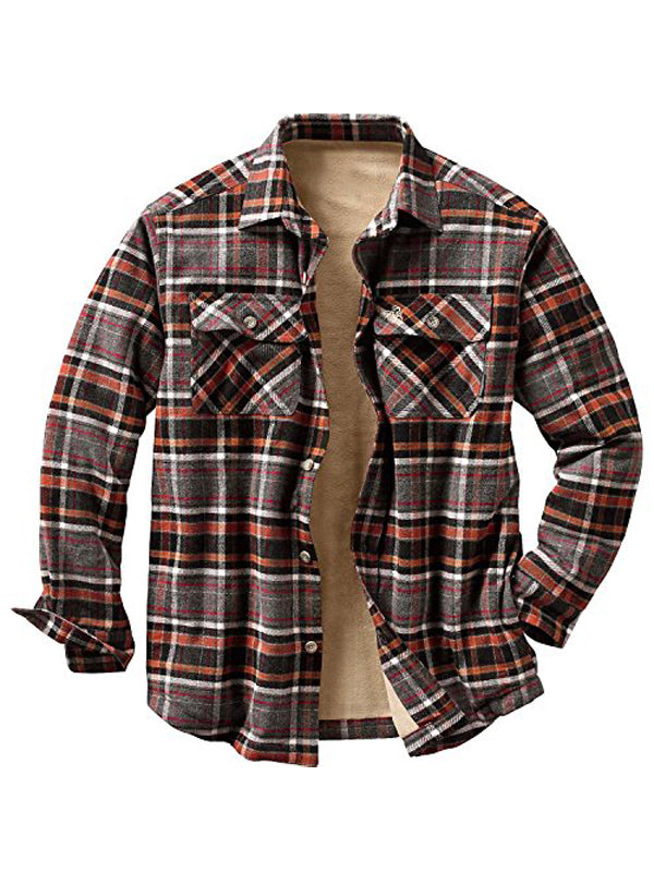Men Casual Long Sleeves Plaid Retro Shirt