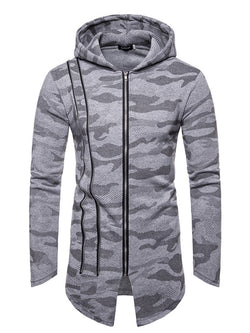 Men Zip Camouflage Hooded Jacket