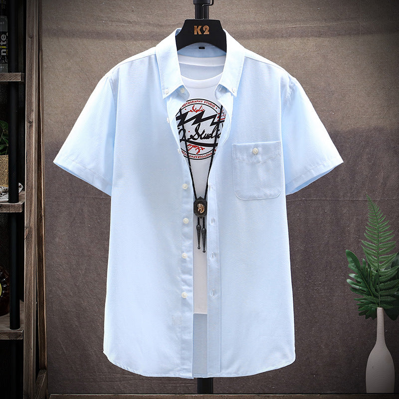 Men Japanese Casual Solid Color Short-Sleeved Shirt