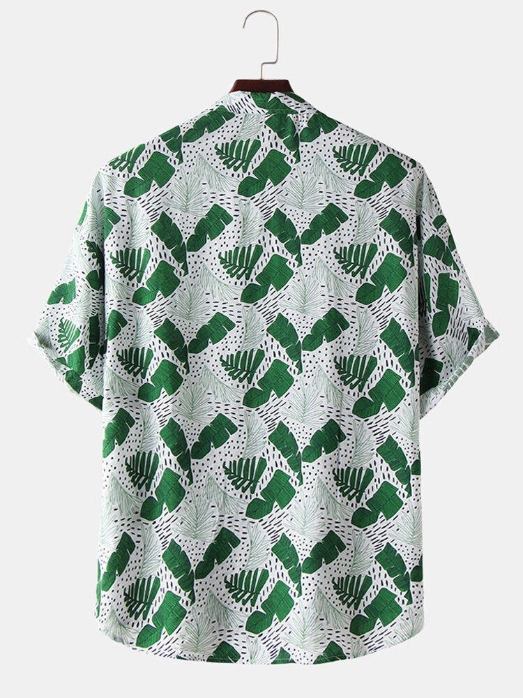 Men Leaf Print Casual Short Sleeve Shirts