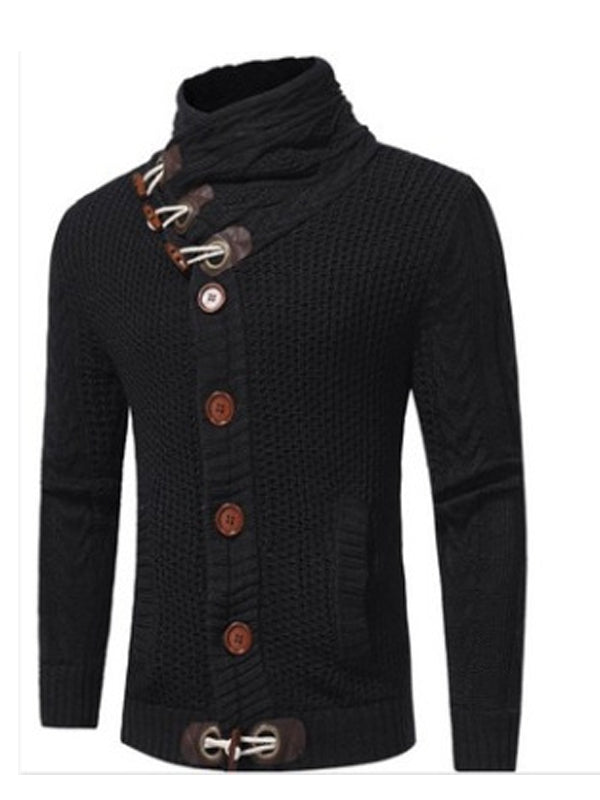 Men High-Neck Solid Urban Sweater