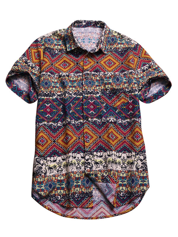 Mens Vintage Stylish Pattern Summer Loose Printing Blouses&Shirts Tops