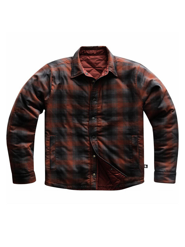 Men Lapel Plaid Casual Loose Shirt