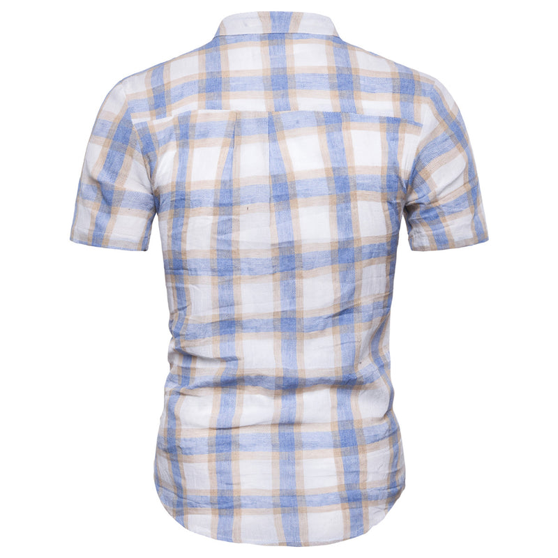 Men Plaid Stand Collar Short Sleeve Shirt