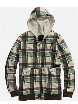 Men's Plaid Hooded Long Sleeve Shirt